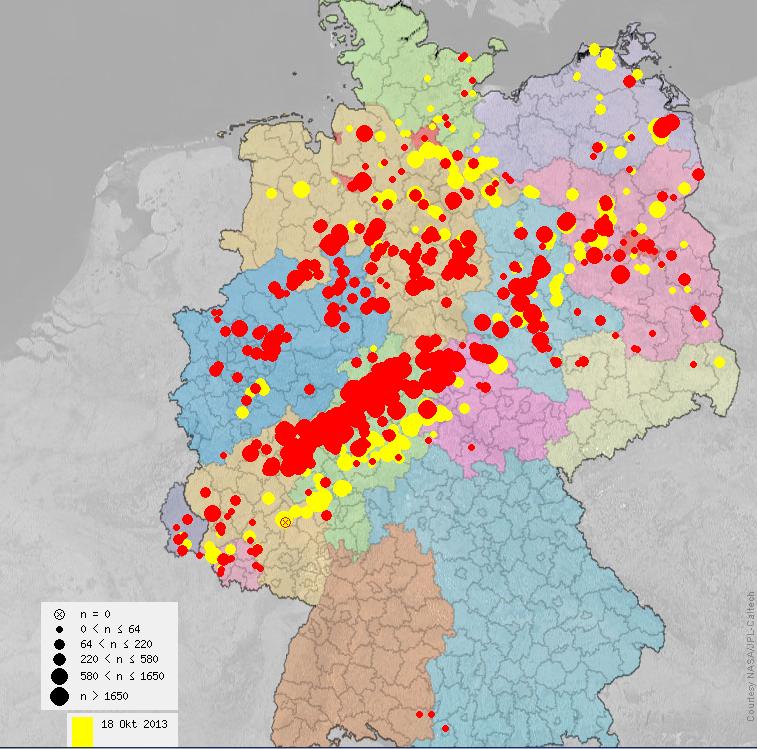 Die Karte des Kranichzuges am 18. (gelb) und 19.10.13 (rot) zeigt, auf welch schmaler Front die großen Vögel durch Deutschland ziehen (Quelle www.ornitho.de)